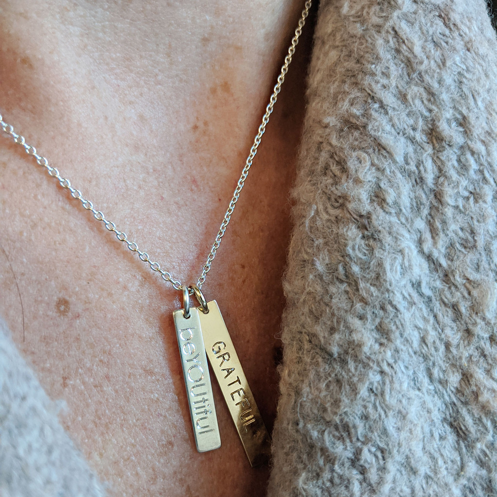 Handwriting Double Bar Necklace