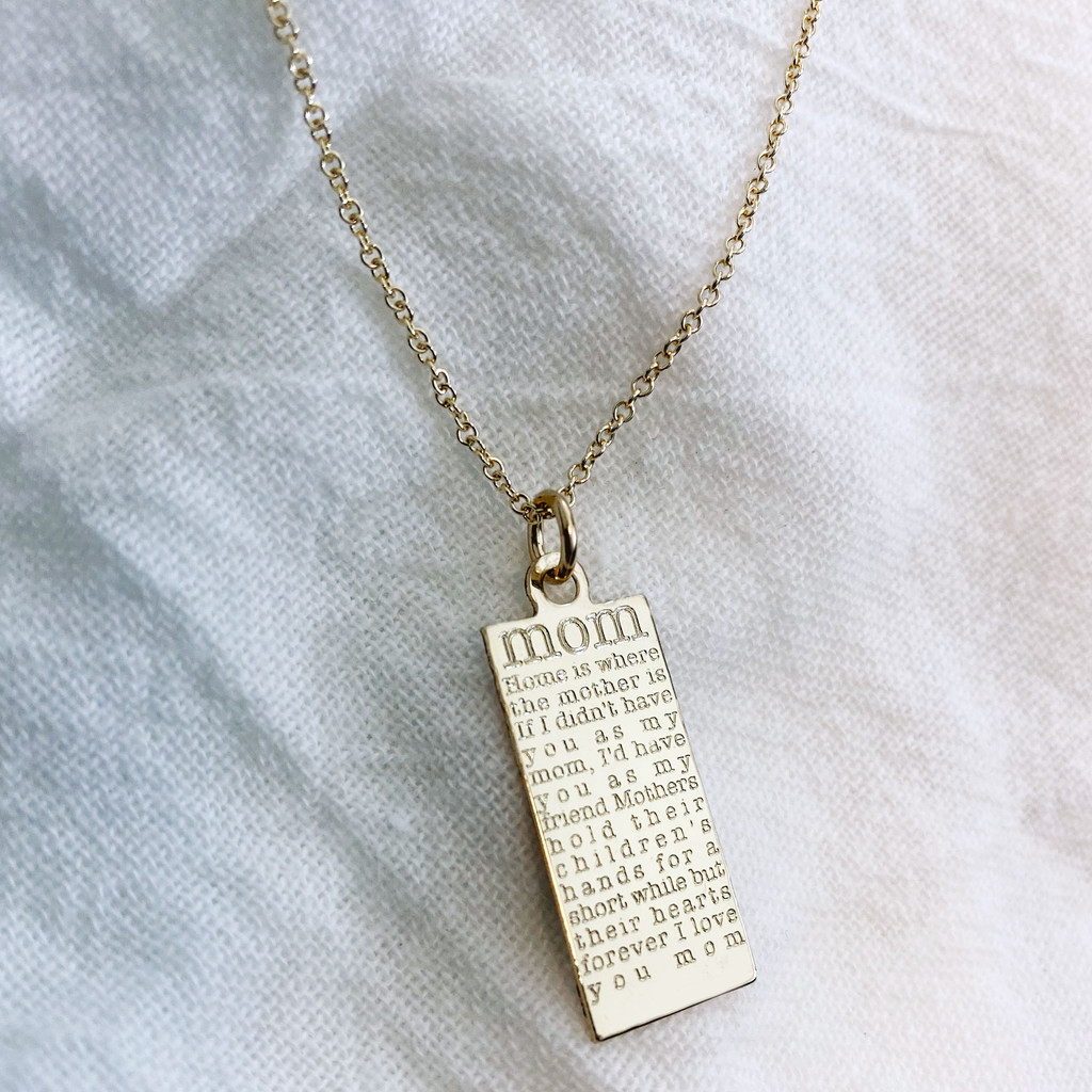 Mom defined necklace. Shown in gold fill on cable chain.