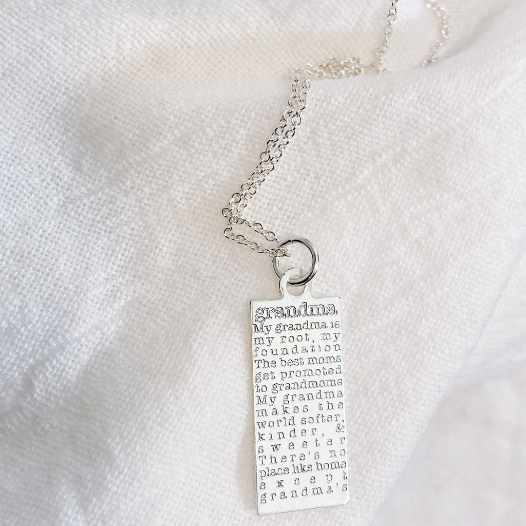 Grandma defined engraved tag necklace