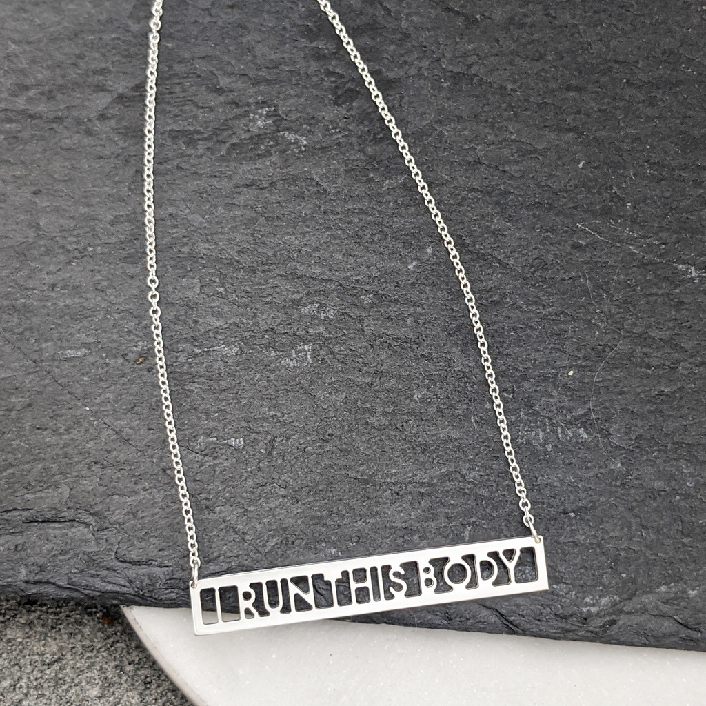 I RUN THIS BODY handcrafted sterling silver necklace