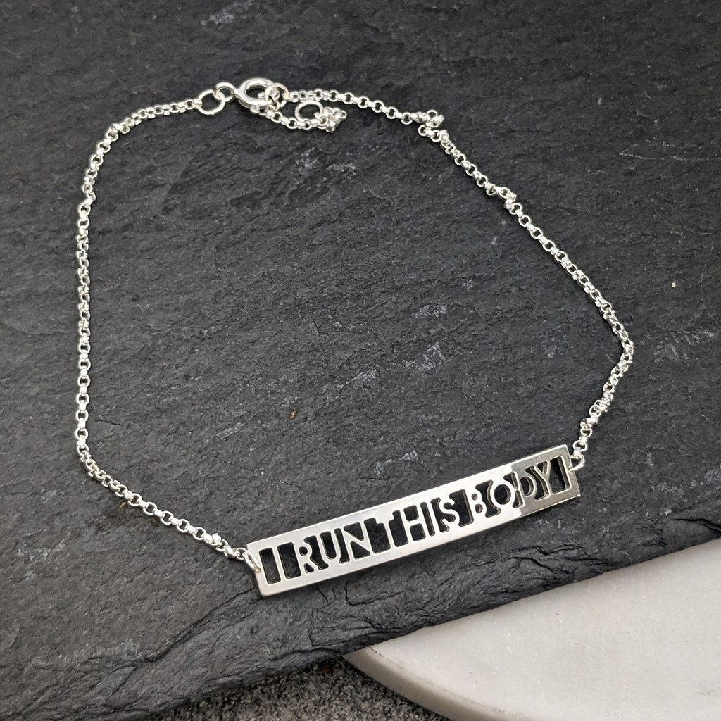 I Run This Body ID Bracelet. Handcrafted in sterling silver.