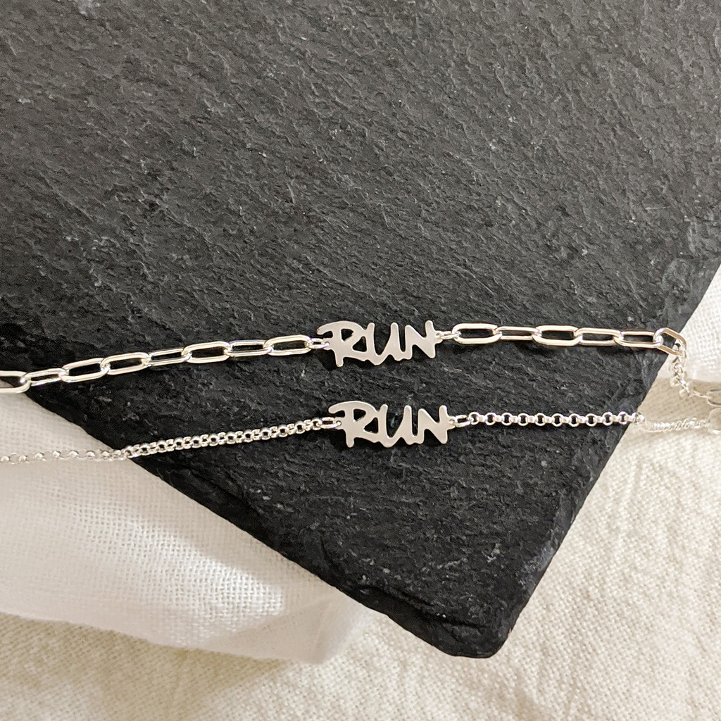 RUN anklet. Sterling silver. Handcrafted.