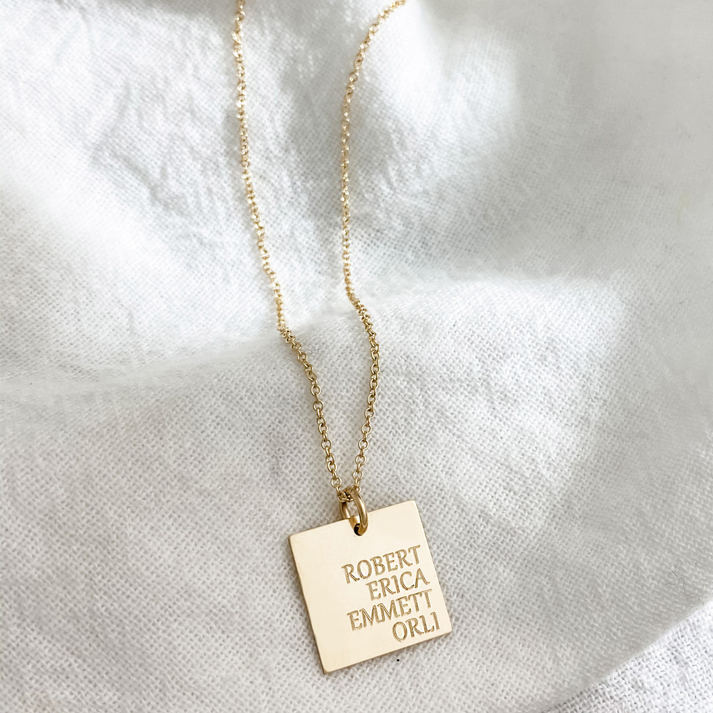 Family Square Necklace. Shown in gold fill on cable chain. Gabriola font.