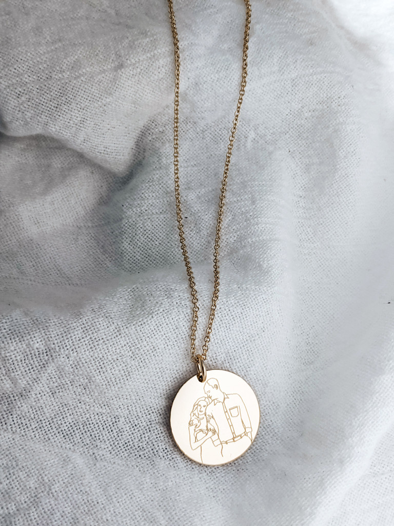 Line Drawing Disc Charm/ Necklace