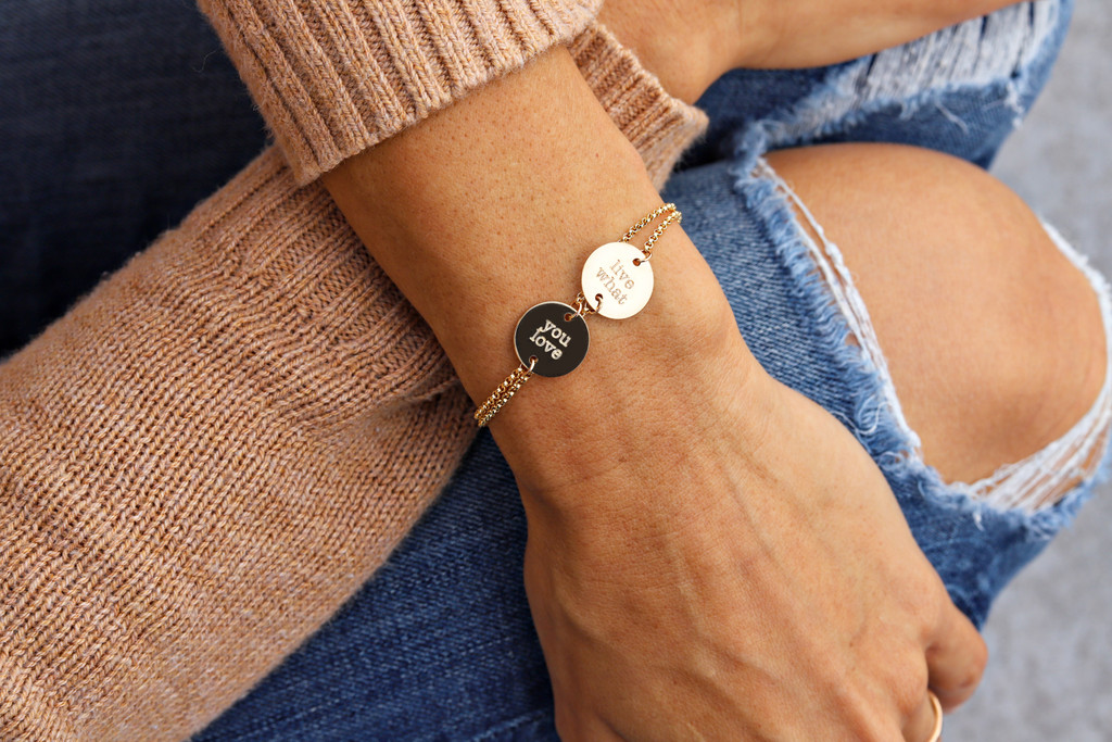 """Gold fill bracelet. Shown with 1/2"""" disc on rolo chain, type font."""