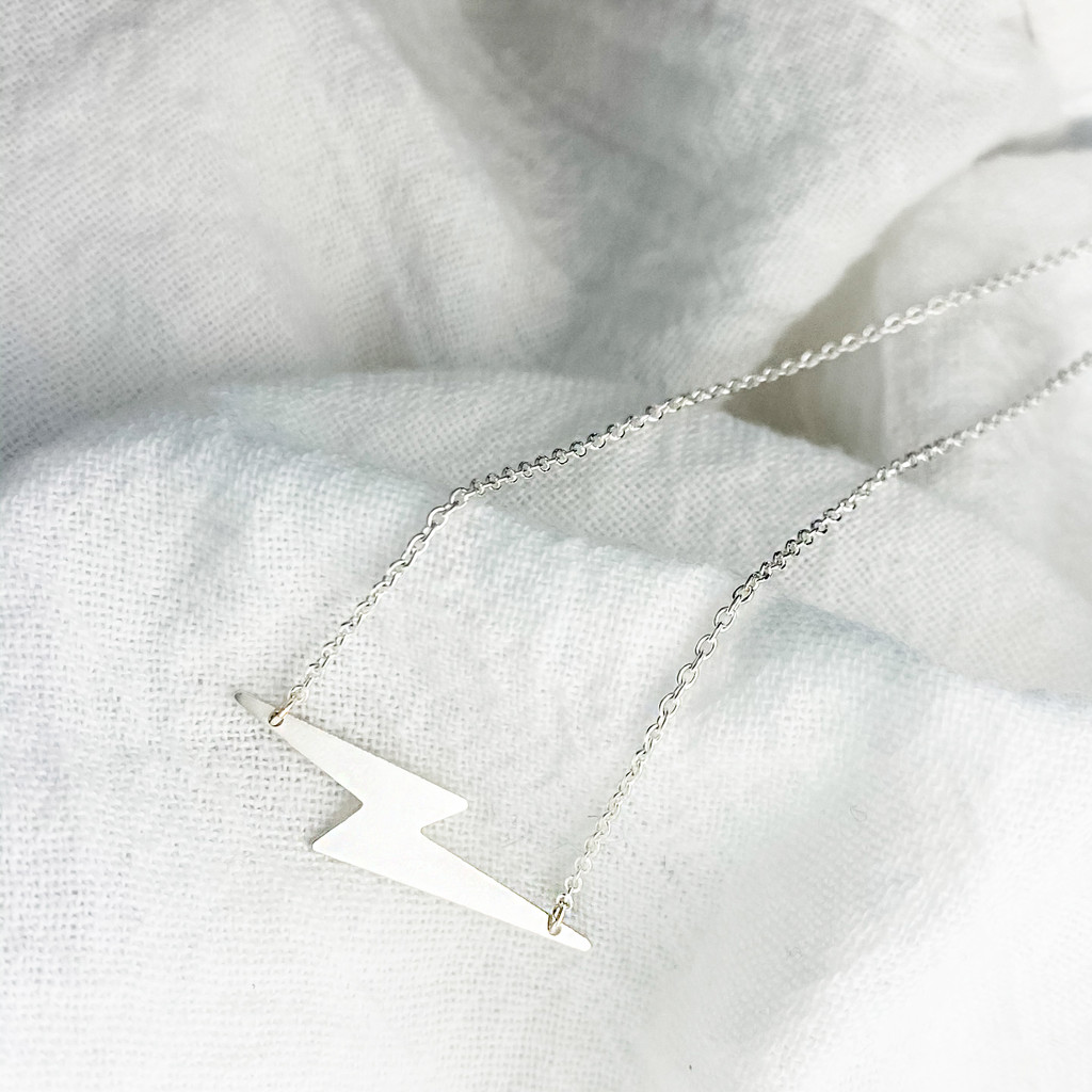 Sterling silver thunderbolt necklace