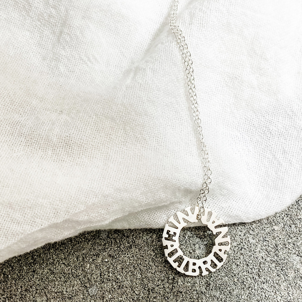 Personalized Halo Necklace. ALI ANNIE BRIAN. Handcrafted to show off your favorite mantra, or the names of the ones you love the most.