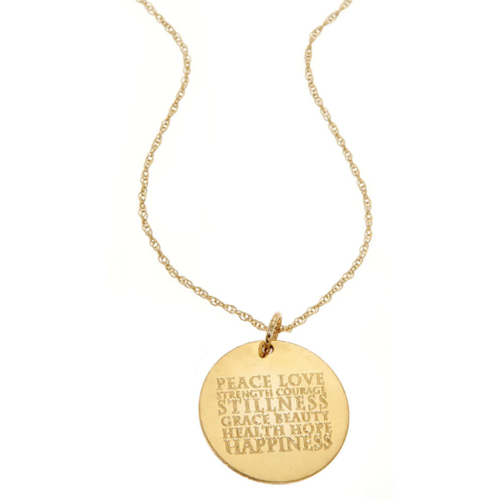 Custom Engraved Wish Necklace. Gold fill.