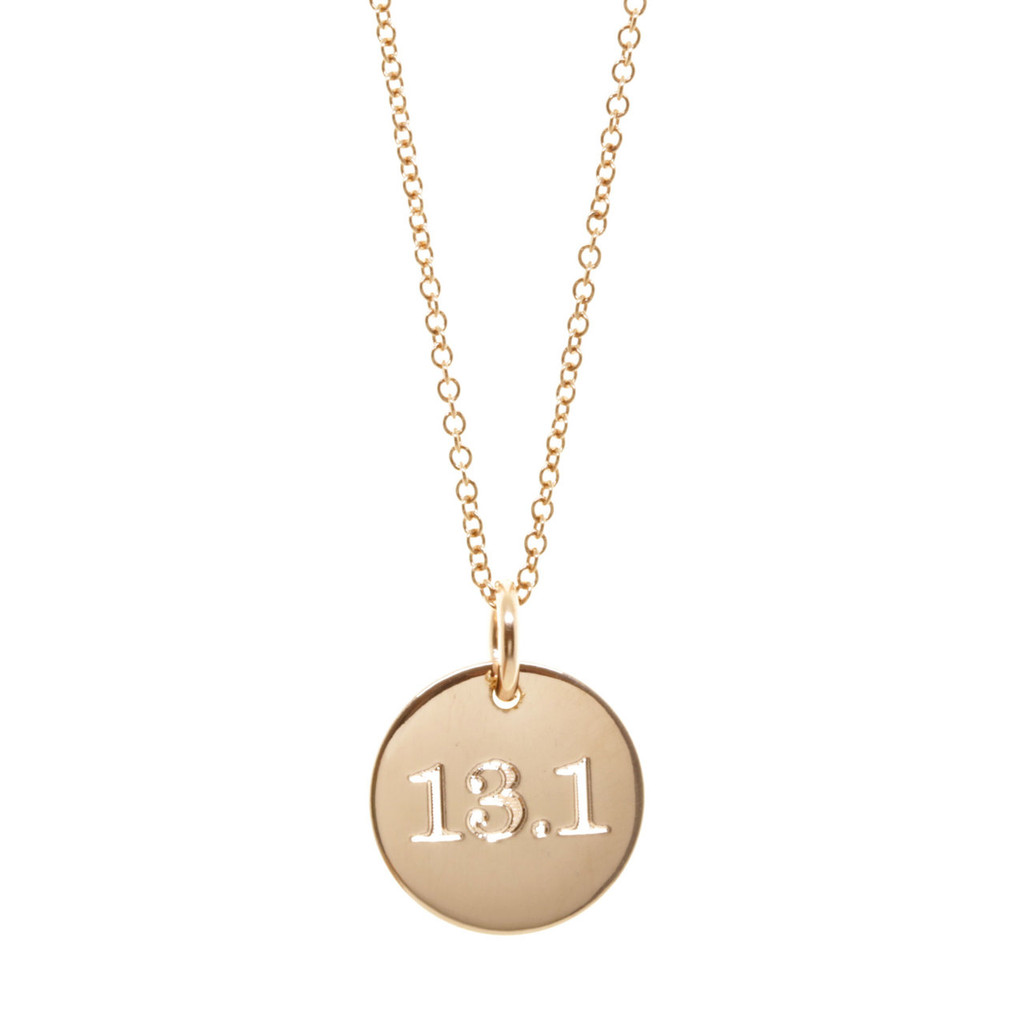 13.1 Half Marathon Disc Necklace. As shown: rose gold fill, fine cable chain, classic font.