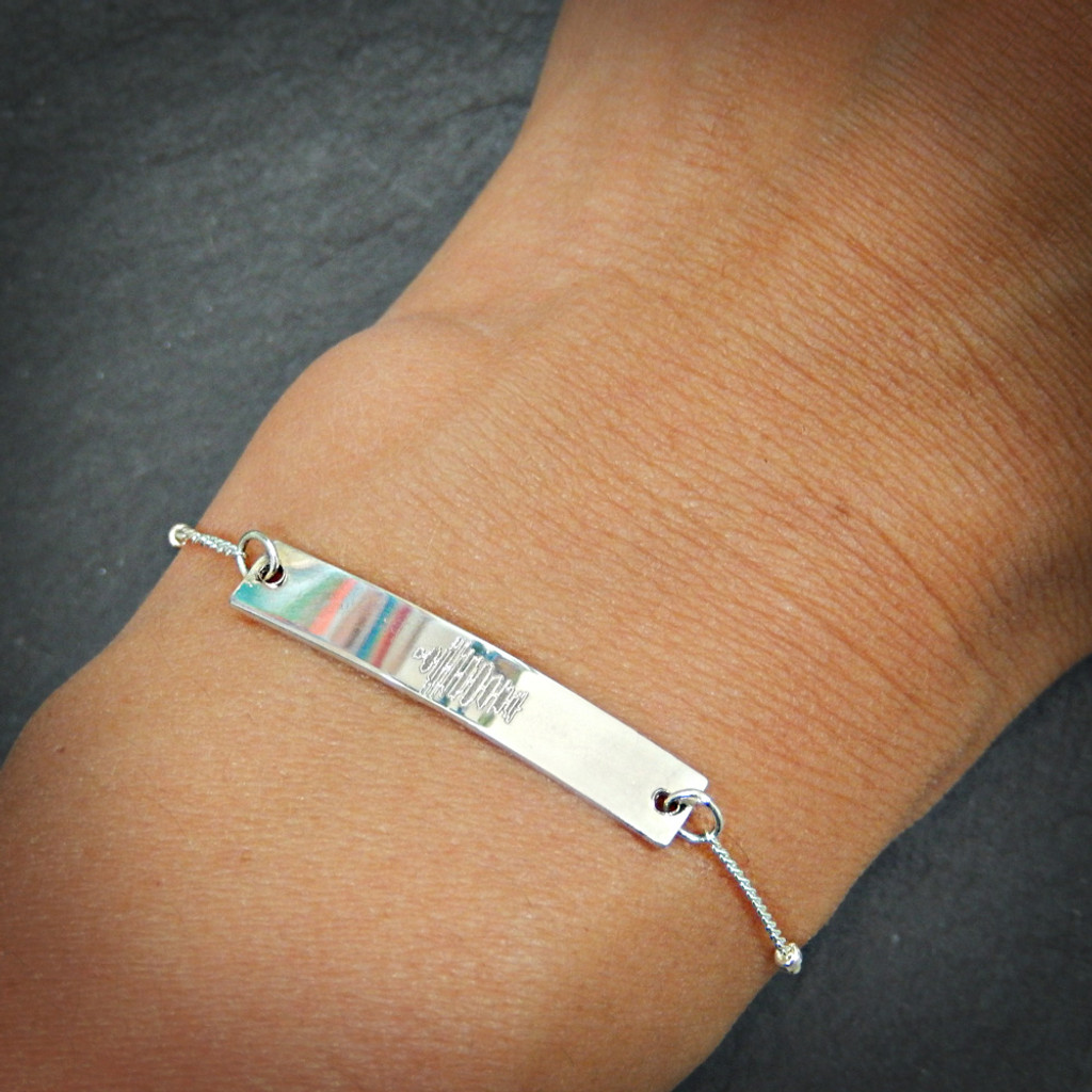 Custom Engraved Sterling Silver Soundwave Bracelet