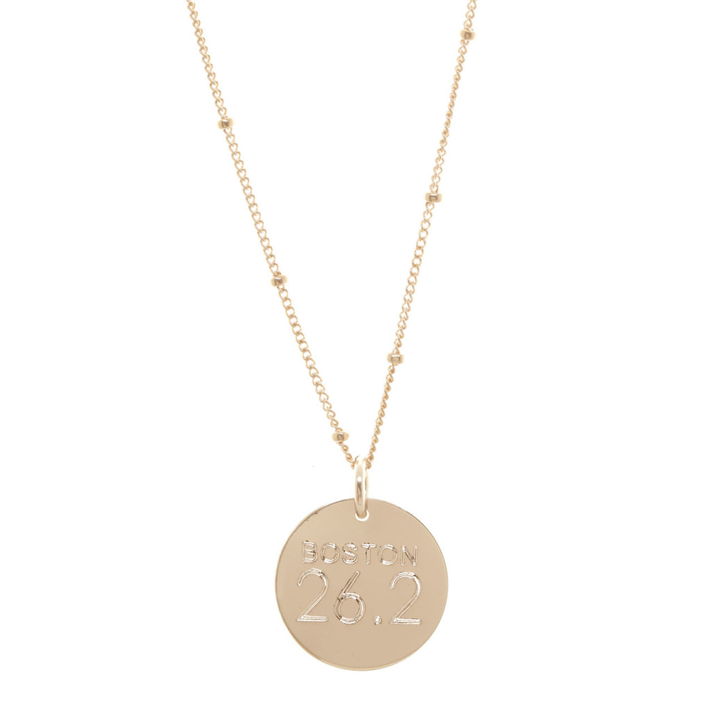 City Race marathon necklace. As shown: rose gold fill, satellite chain. Century font.
