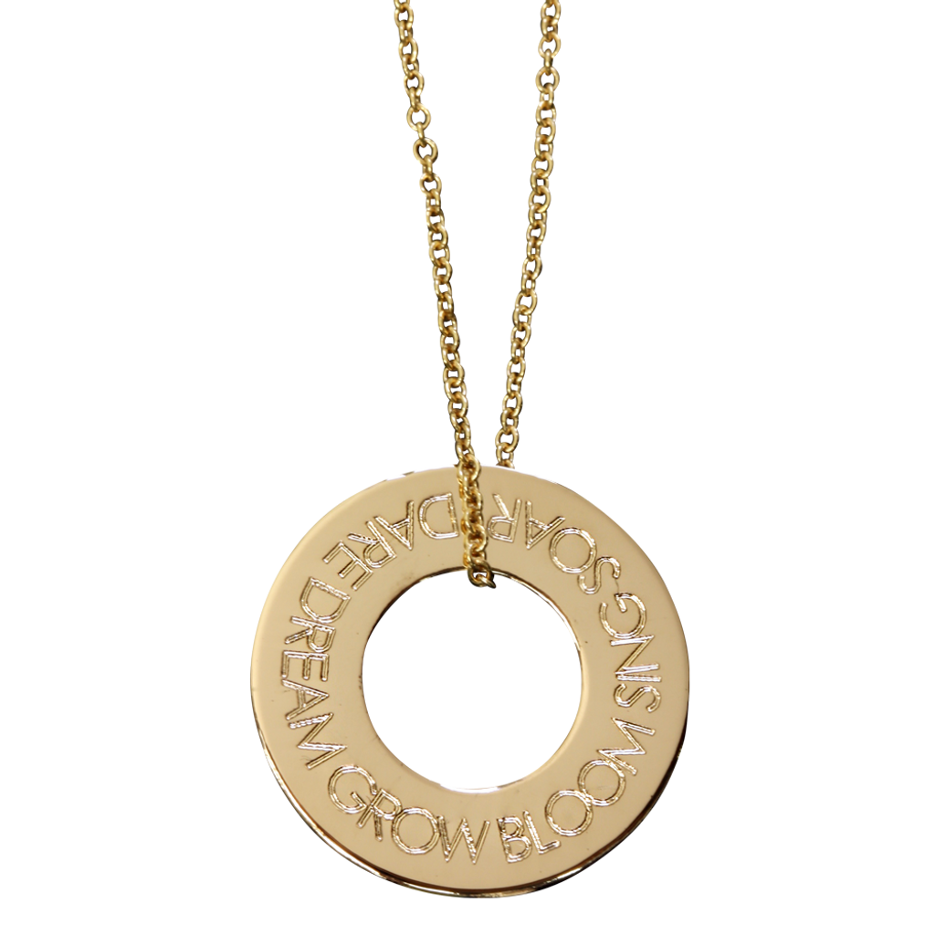 Gold fill on fine cable chain. Century font.