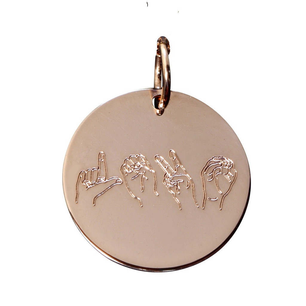 """Rose gold fill. """"love"""" spelled out in ASL letters."""