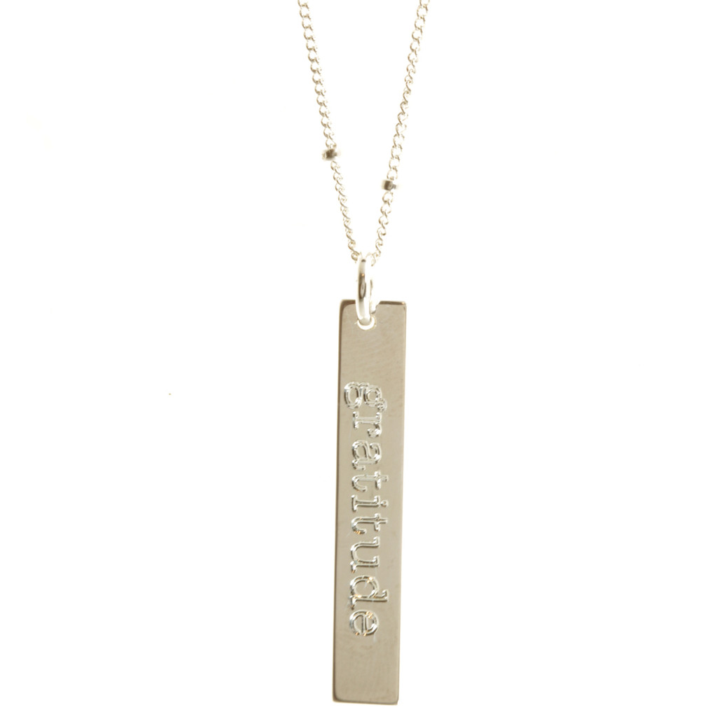 Gratitude necklace. Shown in sterling silver, satellite chain, cochin font.