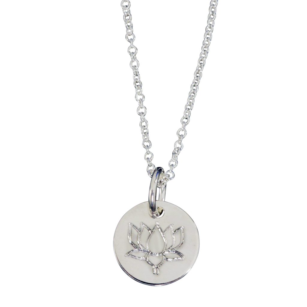 Sterling silver engraved lotus necklace