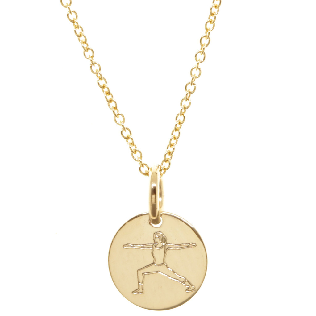 Engraved yoga pose necklace. Warrior pose. Gold fill. Fine cable chain.