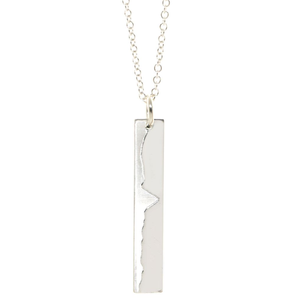 Big Sur Marathon Elevation Necklace. Sterling silver. Fine cable chain.