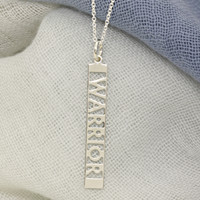 Sterling silver custom mantra necklace. Fine cable chain.