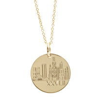 Chicago Skyline Marathon Necklace. Gold Fill. Fine cable chain.