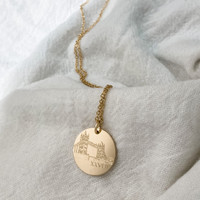 London marathon necklace. Shown in gold fill on cable chain.