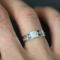 Engraved handmade handwriting ring. Sterling silver.