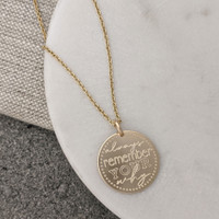Always Remember Your Why engraved necklace. Shown in gold fill on cable chain.