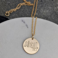 RUN Charlotte Landmark necklace. Shown in gold fill on cable chain.