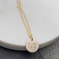 Run Lake Norman necklace. Shown in gold fill on cable chain.
