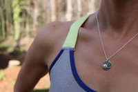 """Atlanta Olympic Marathon Trials necklace.  Shown in 5/8"""" sterling silver on cable chain."""