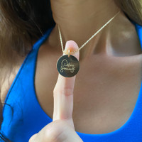 """Define Yourself by Deena Kastor necklace. Shown in 3/4"""" gold fill disc on cable chain."""