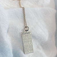 Sister necklace. Shown in gold fill on cable chain.