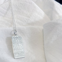 Coach defined engraved tag necklace.