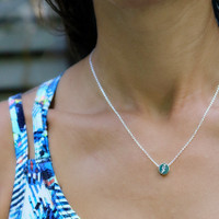 Lightening engraved bead necklace. Sterling silver.
