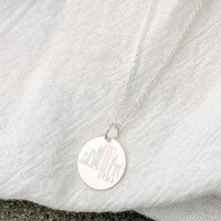 Houston Skyline Necklace. Shown in sterling silver on cable chain.