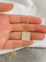 Line Drawing Square Charm/ Necklace