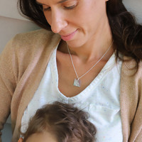 &Mother Square Engraved Necklace. Shown in sterling silver on satellite chain.