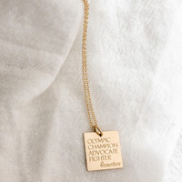&Mother Square Engraved Necklace. Shown in gold fill on cable chain.