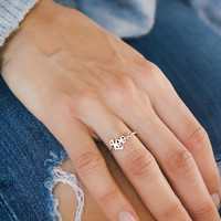 Sterling silver handcrafted Love ring. Stackable.