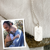 """Custom engraved line drawing created from your photograph. Sterling silver, shown on a 24"""" ball chain."""