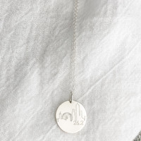 Atlanta Skyline Necklace. Shown in sterling silver on cable chain.