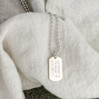 """Personalized sterling silver small dog tags. Shown in type font on a 24"""" ballchain."""