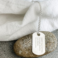 """Sterling silver custom engraved dog tag. Shown in type font on 24"""" ballchain."""
