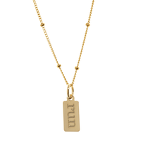 Run engraved necklace. Gold fill. Satellite chain. Type font.