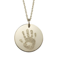 Custom engraved baby handprint. Gold fill, fine cable chain.