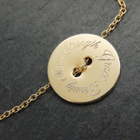 Gold Fill Inspiration Button Necklace. Atlas font.