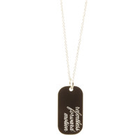 Customized engraved mantra dog tag necklace. Show in sterling silver, atlas font, on cable chain.