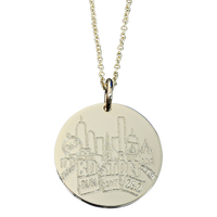 Boston Marathon Charm by SMDS for ESD. Sterling Silver. FIne Cable Chain.