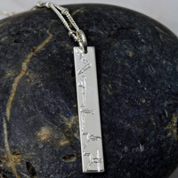 Engraved Warrior Necklace. Sterling Silver. Satellite chain.