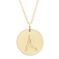 Yoga pose engraved necklace.  Warrior 1. Gold fill. Fine cable chain.
