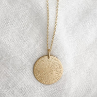 Generation necklace engraved with family names. Shown in gold fill on cable chain.